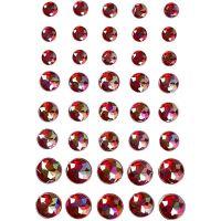 Strasstenen, afm 6+8+10 mm, rood, 40 stuk/ 1 doos