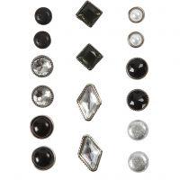 Deco brads, afm 8-18 mm, zwart, 16 stuk/ 1 doos