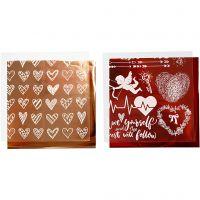 Deco folie en transfervel, harten en love, 15x15 cm, rood, 2x2 vel/ 1 doos