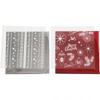 Deco folie en transfervel, Magische kerst, 15x15 cm, rood, zilver, 2x2 vel/ 1 doos