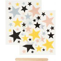 Rub-on Sticker , sterren, 12,2x15,3 cm, 1 doos