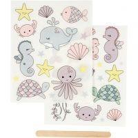 Rub-on Sticker , oceaan, 12,2x15,3 cm, 1 doos