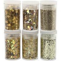 Glitter en pailletten, goud, 6x5 gr/ 1 doos