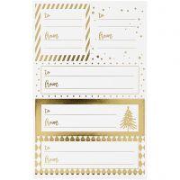 Stickers, 9x14 cm, afm 42x39+84x29 mm, goud, wit, 4 vel/ 1 doos
