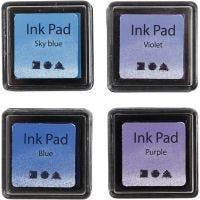 Stempelinkt, H: 2 cm, afm 3,5x3,5 cm, blauw, hemelsblauw, paars, violet, 4 stuk/ 1 doos