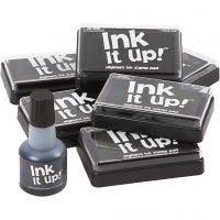 Inktkussen en navulling, afm 6,3x9,5 cm, zwart, 1 set