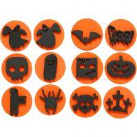 Foam stempels, Halloween, d: 7,5 cm, dikte 2,5 cm, 6 stuk/ 1 doos