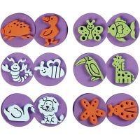 Foam stempels, dieren, d: 7,5 cm, dikte 2,5 cm, 6 stuk/ 1 doos