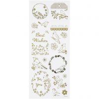 Stickers, vogels, 10x24 cm, goud, 1 vel