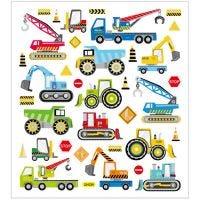 Stickers, bouwplaats voertuigen, 15x16,5 cm, 1 vel