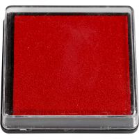 Inktkussen, afm 40x40 mm, rood, 1 stuk