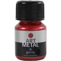 Hobbyverf metallic, Lava rood, 30 ml/ 1 fles