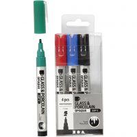 Glas- & Porseleinstiften, lijndikte 1-2 mm, semi-dekkend, zwart, blauw, groen, rood, 4 stuk/ 1 doos