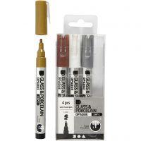 Glas- & Porseleinstiften, lijndikte 1-2 mm, semi-dekkend, bruin, goud, zilver, wit, 4 stuk/ 1 doos