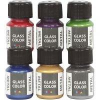 Glass Color Metal, diverse kleuren, 6x30 ml/ 1 doos