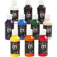 School acrylverf glossy, glossy, diverse kleuren, 10x100 ml/ 1 doos
