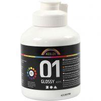 School acrylverf glossy, glossy, wit, 500 ml/ 1 fles