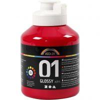 School acrylverf glossy, glossy, primair rood, 500 ml/ 1 fles