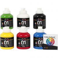 School acrylverf glossy, glossy, primair kleuren, 6x500 ml/ 1 doos