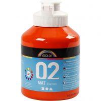 School acrylverf mat, matt, oranje, 500 ml/ 1 fles