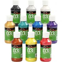 School acrylverf metallic, metallic, diverse kleuren, 10x120 ml/ 1 doos
