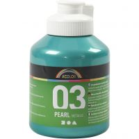School acrylverf metallic, metallic, groen, 500 ml/ 1 fles