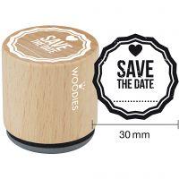 Houten stempel, Save the date , H: 35 mm, d: 30 mm, 1 stuk