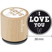 Houten stempel, I love you , H: 35 mm, d: 30 mm, 1 stuk