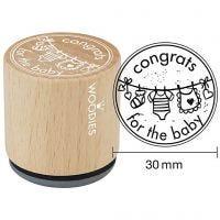 Houten stempel, congrats for the baby, H: 35 mm, d: 30 mm, 1 stuk
