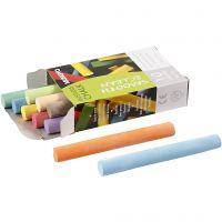 Schoolbordkrijt, L: 8 cm, d: 10 mm, diverse kleuren, 10 stuk/ 1 doos
