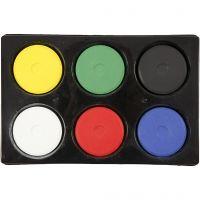 Waterverf, H: 19 mm, d: 57 mm, primair kleuren, 1 set