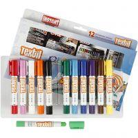 Playcolor textielverf, L: 14 cm, diverse kleuren, 12 stuk/ 1 doos, 5 gr
