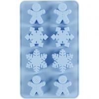 Silicone vormen, ijskristallen en cookieman, H: 2,5 cm, L: 24 cm, B: 14 cm, gatgrootte 30x45 mm, 12,5 ml, 1 stuk/ 1 doos