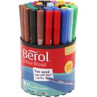 Berol Colourfine, d: 10 mm, lijndikte 0,3-0,7 mm, diverse kleuren, 42 stuk/ 1 Doosje