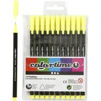 Colortime Fineliner , lijndikte 0,6-0,7 mm, geel, 12 stuk/ 1 doos