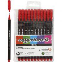 Colortime Fineliner , lijndikte 0,6-0,7 mm, rood, 12 stuk/ 1 doos
