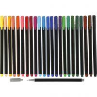 Colortime Fineliner , lijndikte 0,6-0,7 mm, diverse kleuren, 24 stuk/ 1 doos