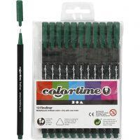 Colortime Fineliner , lijndikte 0,6-0,7 mm, donkergroen, 12 stuk/ 1 doos