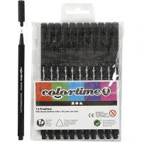 Colortime Fineliner , lijndikte 0,6-0,7 mm, zwart, 12 stuk/ 1 doos