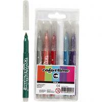 Colortime glitterstiften, lijndikte 2 mm, diverse kleuren, 6 stuk/ 1 doos