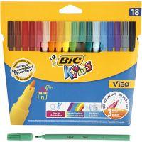 Visa fijne kleurstiften, lijndikte 1,6 mm, diverse kleuren, 18 stuk/ 1 doos