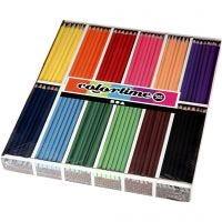 Colortime kleurpotloden, L: 17,45 cm, vulling 3 mm, diverse kleuren, 12x24 stuk/ 1 doos