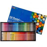 Mungyo Oliepastel, L: 7 cm, dikte 11 mm, diverse kleuren, 48 stuk/ 1 doos