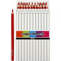 Colortime kleurpotloden, L: 17,45 cm, vulling 5 mm, JUMBO, rood, 12 stuk/ 1 doos