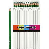 Colortime kleurpotloden, L: 17,45 cm, vulling 5 mm, JUMBO, groen, 12 stuk/ 1 doos