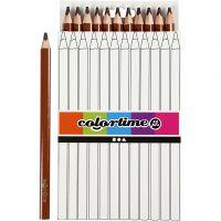 Colortime kleurpotloden, L: 17,45 cm, vulling 5 mm, JUMBO, bruin, 12 stuk/ 1 doos