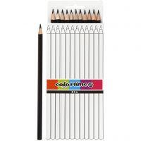 Colortime kleurpotloden, L: 17 cm, vulling 3 mm, zwart, 12 stuk/ 1 doos