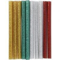 Lijmpistool vullingen, L: 10 cm, glitter, goud, groen, rood, zilver, 10 stuk/ 1 doos