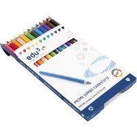 Edu Jumbo kleurpotlood, dikte 10 mm, vulling 6,25 mm, diverse kleuren, 12 stuk/ 1 doos
