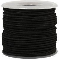 Elastiek, dikte 2 mm, zwart, 25 m/ 1 rol